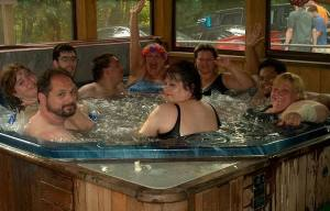 There is something deeply erotic about hot tub parties.