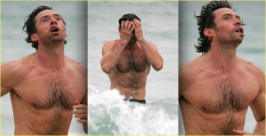 Here is a picture of Hugh Jackman having a nervous breakdown after years of torment at the hands of invisible ninjas.