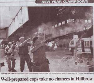 And, since violence is perfectly acceptable, here's a picture of a typical New Year's Eve celebration in Hillbrow.